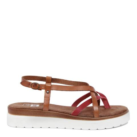 Julie Julie Brown & Red Multi Strap Chunky Sandal
