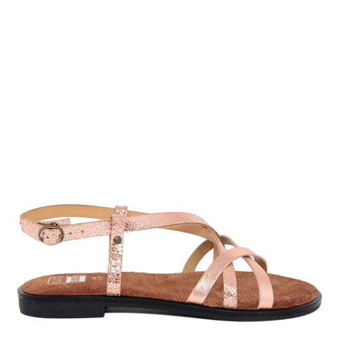 Julie Julie Metallic Rose Gold Cracked Leather Multi Strap Sandal