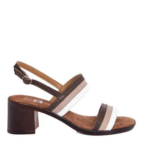 Julie Julie Brown And White Stripe Leather Block Heel Sandal