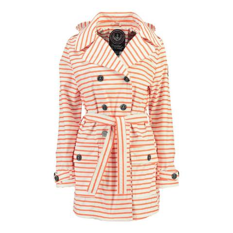 Geographical Norway Women's Coral/White Craquante Belted Coat