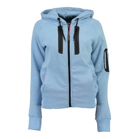 Geographical Norway Women's Sky Blue Fabricot Hood Sweater