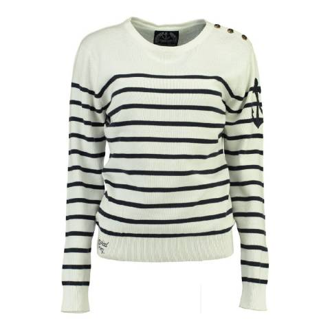 Geographical Norway Women's Off White/Navy Figue Jumper