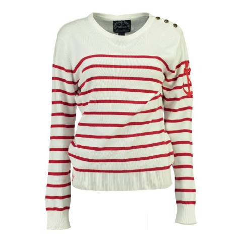 Geographical Norway Women's White/Red Figue Jumper