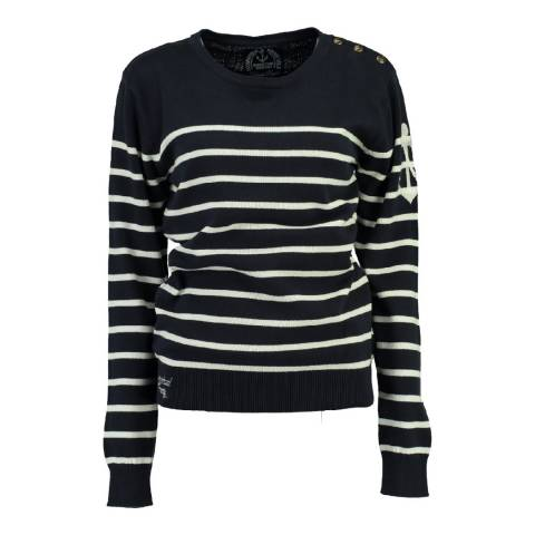 Geographical Norway Women's Navy/Off White Figue Jumper