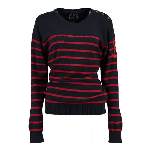 Geographical Norway Women's Navy/Red Figue Jumper