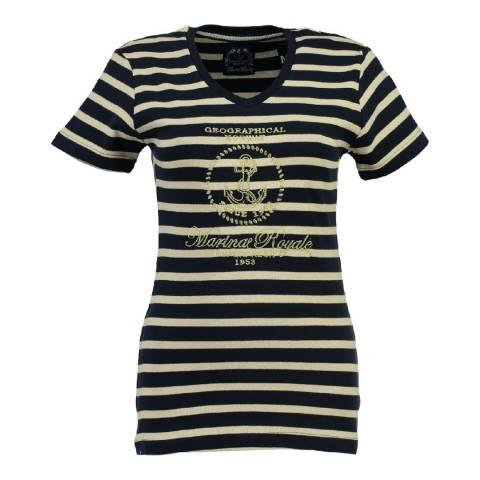 Geographical Norway Women's Navy/Off White Jardin T-Shirt