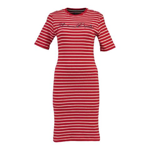 Geographical Norway Women's Red/White Jimini T-Shirt Dress