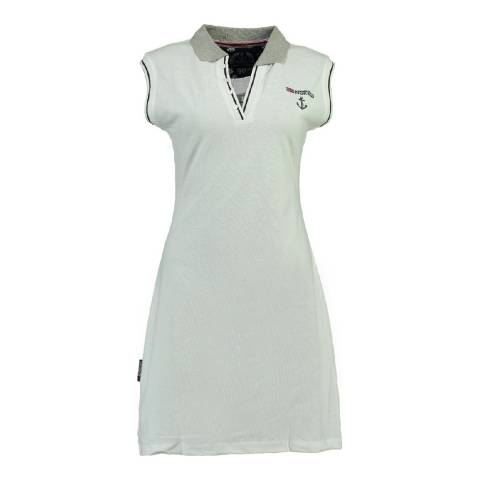 Geographical Norway Women's White Kati Short Sleeve Dress