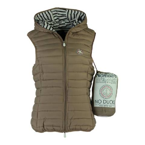 Geographical Norway Women's Taupe Vinette Hood Gilet