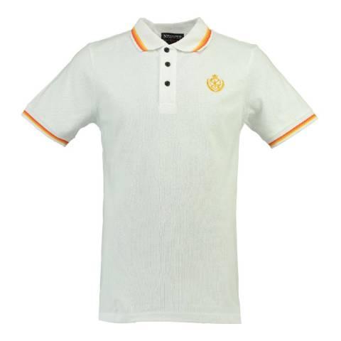 Geographical Norway White/Orange Karaibe Cotton Polo Shirt