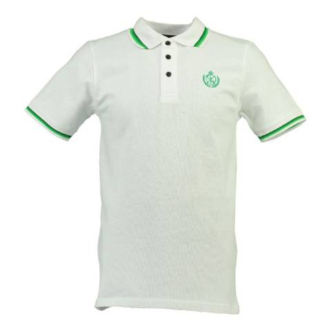 Geographical Norway Men's White/Green Karaibe Polo Shirt