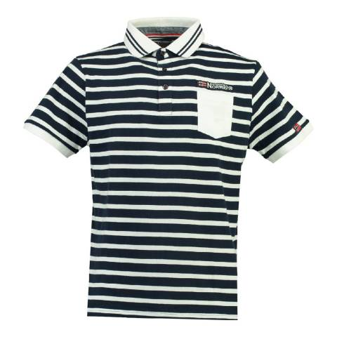 Geographical Norway Men's Navy/White Cotton Kungfu Polo Shirt