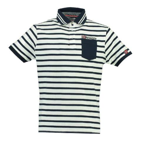Geographical Norway Men's White/Navy Cotton Kungfu Polo Shirt