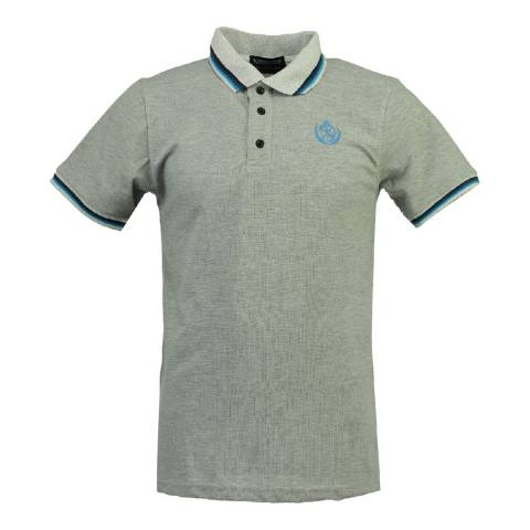 Geographical Norway Men's Grey/Blue Karaibe Polo Shirt
