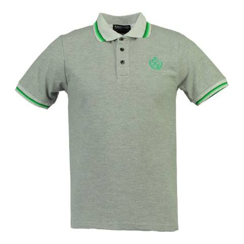Geographical Norway Men's Grey/Green Karaibe Polo Shirt