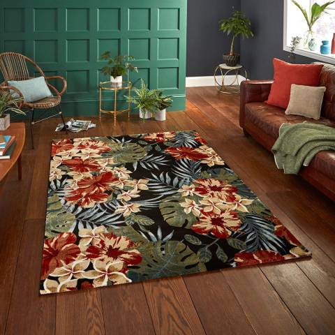 Think Rugs Black/Multi Tropics 6096 120x170cm Rug