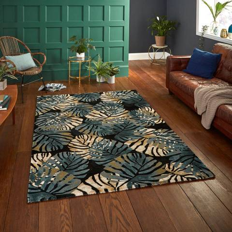 Think Rugs Black/Blue Tropics 6097 160x220cm Rug