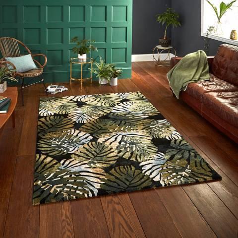 Think Rugs Black/Green Tropics 6097 120x170cm Rug