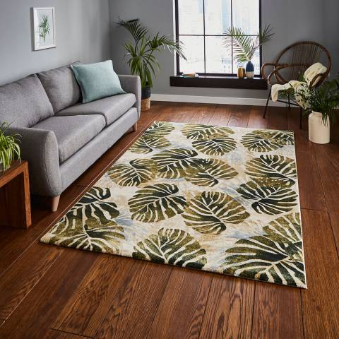 Think Rugs Cream/Green Tropics 120x170cm Rug