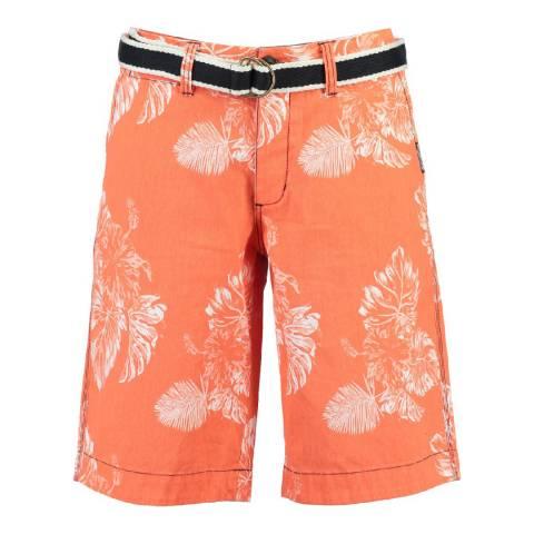 Geographical Norway Boy's White/Orange Parapluie Shorts