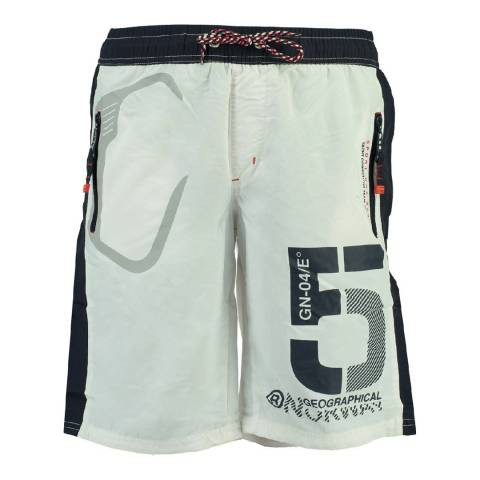 Geographical Norway Boy's White Qraviara Swim Shorts