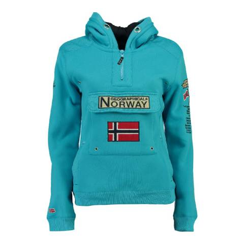 Geographical Norway Boy's Turquoise Gymclass Hooded Jumper