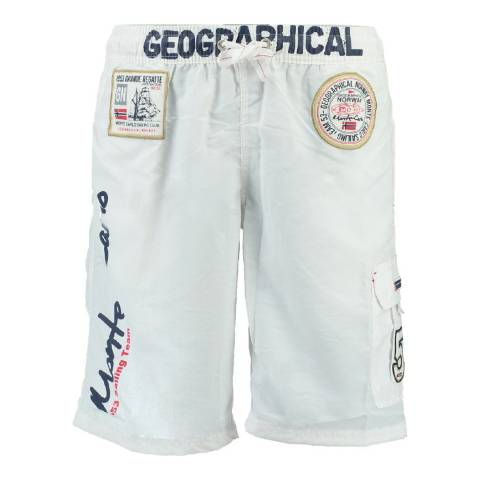Geographical Norway Boy's White Quorban Swim Shorts