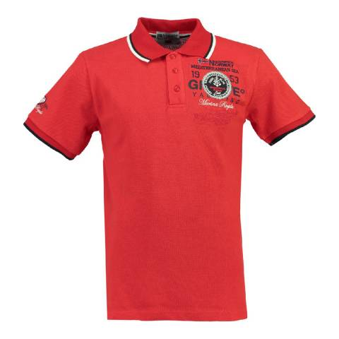 Geographical Norway Boy's Red Kavigation Polo Shirt