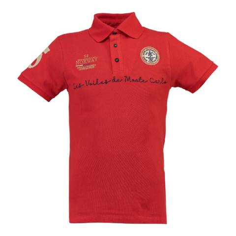 Geographical Norway Boy's Red Kolostar Polo Shirt