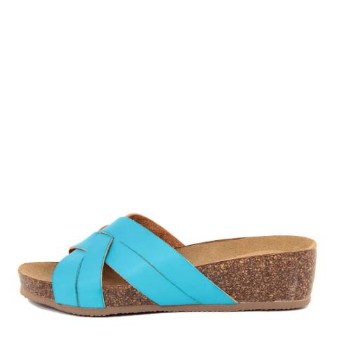 Summery Blue Multi Strap Wedge Footbed Sandal