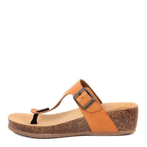 Summery Tan Brown T-Bar Wedge Footbed Sandal