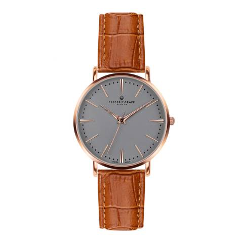 Frederic Graff Womens Croco Ginger Brown Eiger Watch 40 mm