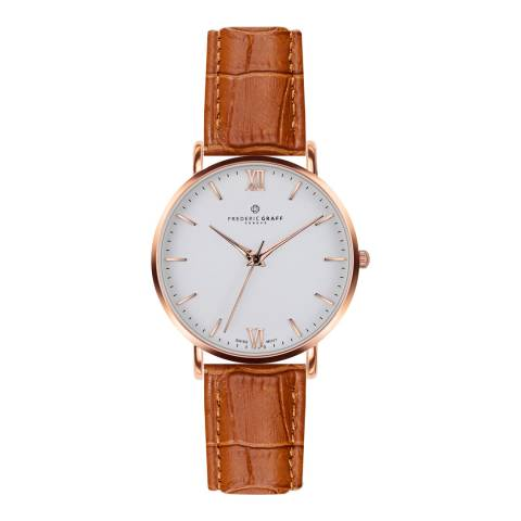 Frederic Graff Womens Croco Ginger Brown Dent Blanche Watch 40 mm