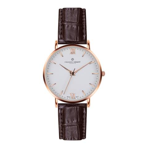 Frederic Graff Womens Croco Brown Dent Blanche Watch 40 mm
