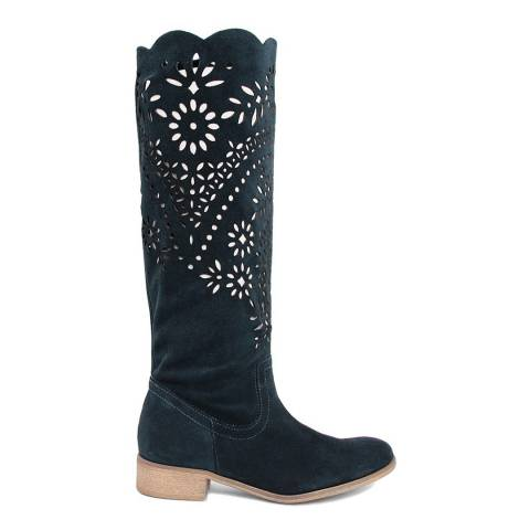 Giorgio Picino Dark Turquoise Perforated Paisley Suede Calf Boots