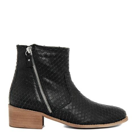 EJE Black Leather Reptile Zip Ankle Boots
