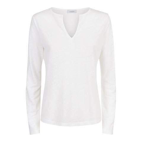 Jaeger White Jersey Linen Top