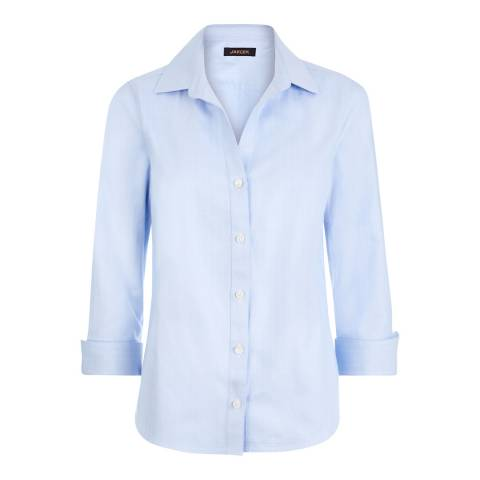 Jaeger Light Blue Herringbone Cotton Shirt