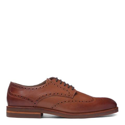 H by Hudson Tan Leather Balleter Brogue Shoes