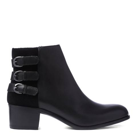 H by Hudson Black Leather Buckle Eris Ankle Boots