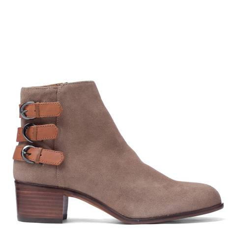 H by Hudson Suede Taupe Buckle Eris Ankle Boots