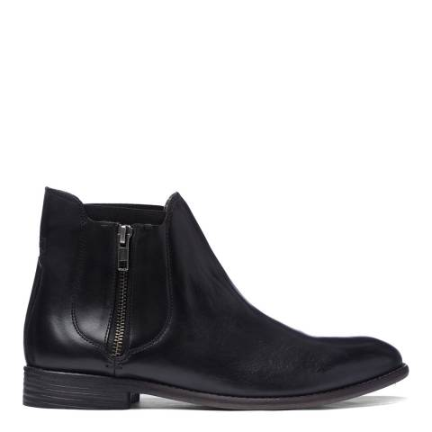 H by Hudson Black Leather Algoma Chelsea Boots