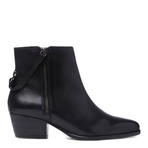 H by Hudson Black Leather Larry Heeled Ankle Boots