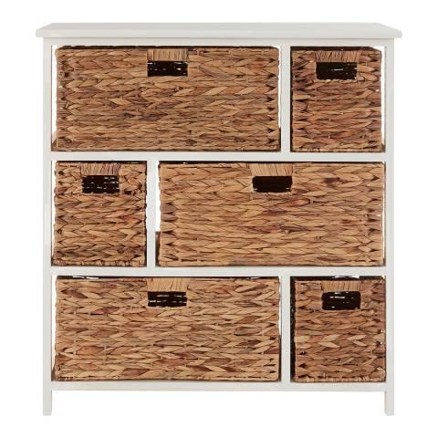 Premier Housewares Padstow 6 Drawer Storage Unit, White/Natural