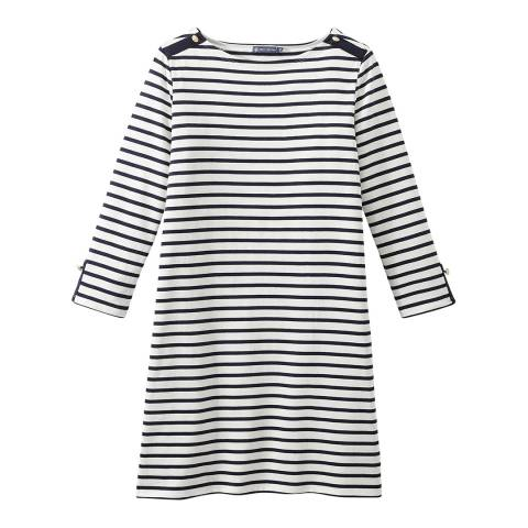 Petit Bateau Cream/Navy Stripe Heavy Jersey Sailor Dress