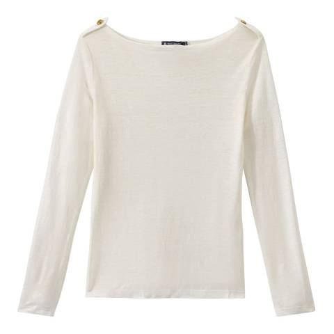 Petit Bateau Off White Boat Neck Long Sleeve Top