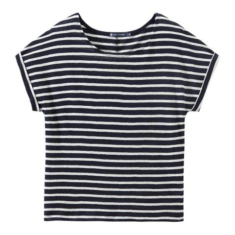 Petit Bateau Navy/White Striped Linen Top