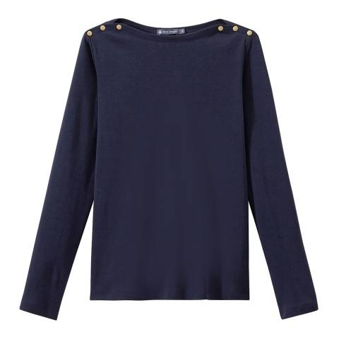 Petit Bateau Navy Boat Neck Cotton Top