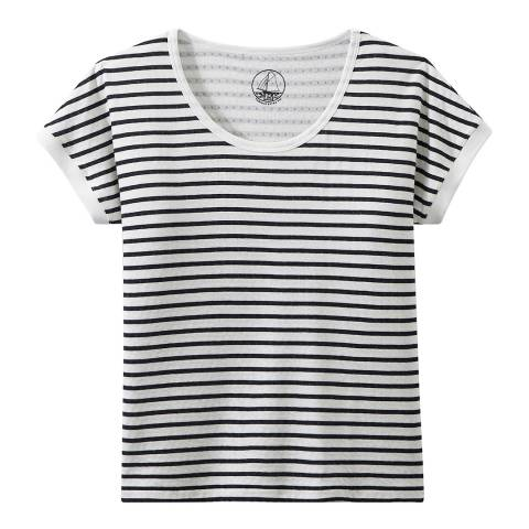 Petit Bateau White/Navy Striped Extra Fine Tube Knit T-Shirt