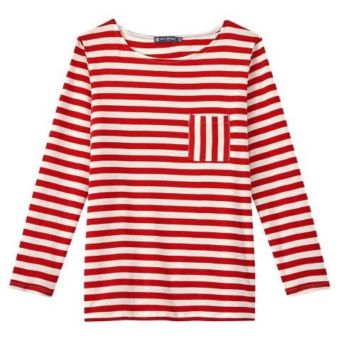 Petit Bateau Red/White Stripe Boat Neck Cotton Top